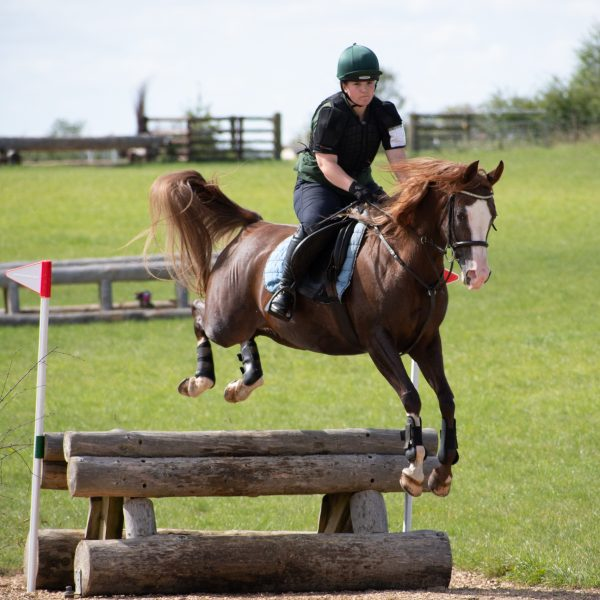 Penny jumping a fence into water at Oxstalls (c) Photography by Shelley